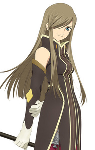 here is Tear from Tales of the abyss brown hair blue eyes hair covering eye...