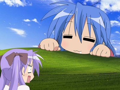 This is my Desktop Wand Paper, only without the Konata and Kagami in it and I wish they were in my screensaver :(