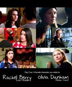 Currently on TV 1. Olivia Dunham (Fringe) 2. Rachel Berry (Glee) 3. Sarah Walker (Chuck) 4. Robin Sherbatsky (HIMYM) 5. Quinn Fabray (Glee)