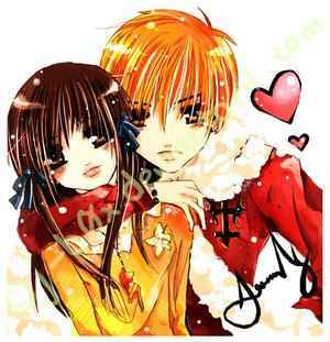 kyo and tohru of course and then close runnin 2nd is edward and winry :D