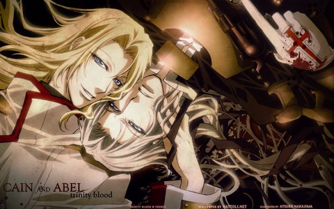 the main character of Trinity Blood is a twin his name Abel Nightlord (white hair), his twin Cain Nightlord (blonde hair) except for the hair color they are identical in appearance :)