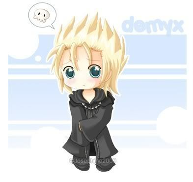 Oh GAWD DEMYX FROM KINGDOM HEARTS, absolutely!!! (boy) And Namine from Kingdom Hearts (girl)