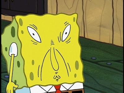 Spongebob!!! doing a funny face xD