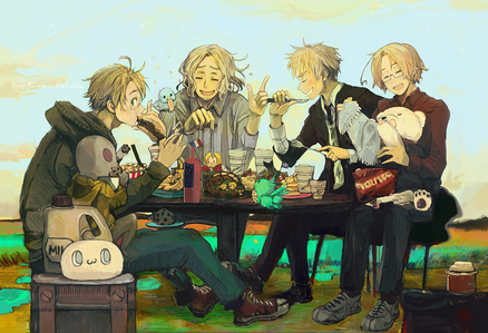 CANADA AND ENGLAND. From Hetalia: Axis Powers. They're the two on the right in this picture.