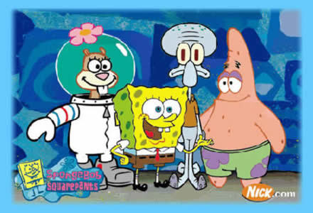 SpongeBob Squarepants because he is so ambitious and naive and upbeat. He makes me laugh and when I am down he makes my day.