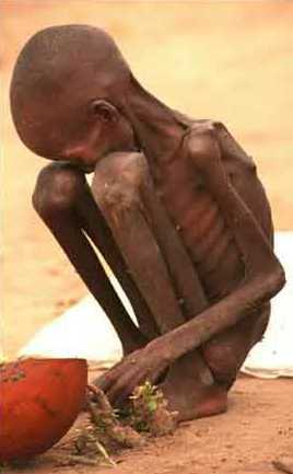Starving child in Sudan... Makes me sad that they aren't getting enough help...