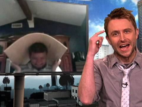 Me: (walking, lalala, lala-* HOLY SHIT *nudges Nikki (friend)* N-Nikki, it's Chris Hardwick! It's Chris friggin' Hardwick! Nikki: ...who's that? Me: tu DON'T KNOW WHO CHRIS HARDWICK IS?! Nikki: No >.> Me: GAH WHATEVER! (runs over to him) Ohmigawd, you're Chris Hardwick! :D Chris: ...uh, yeah... Me: PLEASESIGNMYARMPLEEAAASSEE :D And then he'd probably send me a restraining order...but it'd be nice while it lasted<3