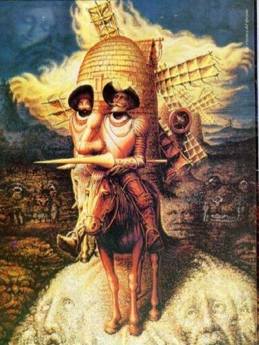 "This is reminiscent of a picture I found called ""Portrait of Don Quixote"" Plenty of faces in this one :)"