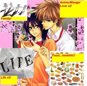omg so many...right now...MANGA XD It's mah food!! JKJK not mah food! I currently pag-ibig TOO MUCH: 1. My Family 2. MANGA/ANIME 3. LIFE! 4. pagkain :9 5. L♥ve 6. SO much madami If I had to post a pic...:/ brb....back!!! I made a horribly noob edited pic xD even tho' I know lotz bout' paint :P everything's labled xD