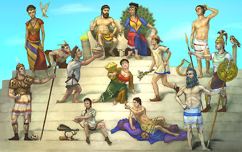 There are twelve main ones, called Olympians. Zeus - king of the gods Hera - Zeus's wife and the goddess of marriage Aphrodite - goddess of upendo Apollo - god of the sun Ares - god of war Artemis - goddess of nature Athena - goddess of wisdom and war Demeter - goddess of grain and the harvest Dionysus - god of wine and pleasure Hephaestus - god of moto Hermes - messenger of the gods Poseidon - god of the sea The 13th and my inayopendelewa is Hestia the Greek Goddess of Hearth and Home. There are an infinite amount of minor gods and goddesses. many families had their own personal household gods.