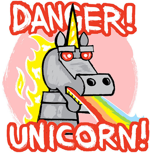 A pet unicorn that poops ice cream,with fuego hair,a robot, and spits out rainbows.