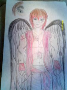 i did... i do... difference? Now it's an FBF! X3 here's a picture... the juu thing didn't turn out well u see, he's a member of the beautiful dead, so that was 'post to onyesha his...um...let's call it a death mark... it's a black pair of Angel wings that r over the right eye. *snicker* i have his whole back groud worked out. um...mostly...