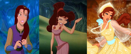 The three that come to mind are: 3. Công chúa Anastasia from Công chúa Anastasia 2. Meg from Hercules 1. Kayley from Quest for Camelot Hope this helps.