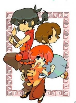 This image came up for me: It's male Ranma, female Ranma, and Akane Tendo from Ranma 1/2. It was part of my signature on my former Quizilla account lol...