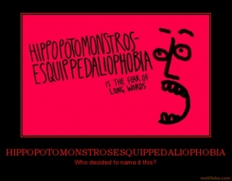 HIPPOTOMONSTROSESQUIPEDALIOPHOBIA :) to fear long words :) लोल its such an epic fail :)