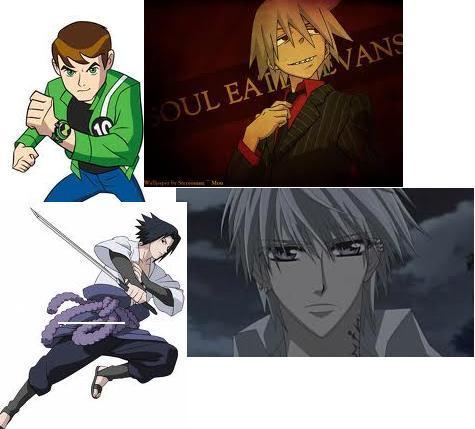 zero:vampire knight soul:soul eater ben:ben 10 (i know he not anime ,but, i would like meet him.) sasuke:naruto