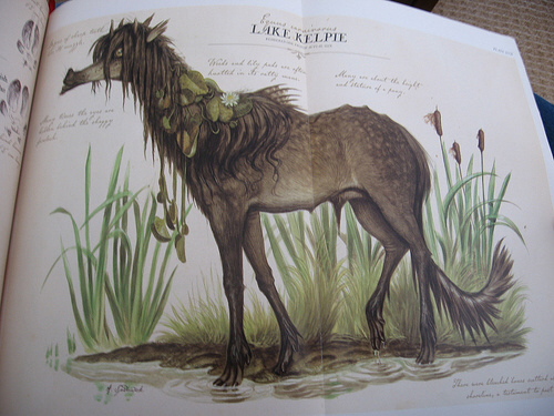 Here's a kelpie... it's horselike....with flowers...