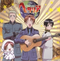 The Hetalia theme!!! GO HETALIA! [English] hei hei Papa, Can I Have Some Wine? hei hei Mama, hei hei Mama, It Doesn't Matter What I Do, I'll Never Forget! The Taste Of Bolognese Wont Get Out Of My Head! Draw A bulatan That's The Earth! Draw A bulatan That's The Earth! Draw A bulatan That's The Earth! I Am Hetalia! Ahhh The World Around Us~ Can Be Seen Through A Stroke Of A Single Brush! And Now We Give A roti bakar With Our Boots! Heeeetaaaaliiiiaaa! [Japanese] Nee Nee PAPA WAIN wo choudai Nee Nee Mama Nee Nee Mama Mukashi Ni Tabeta BORONEEZE No Ano Aji Ga Wasurerarenain daaaaa~ Marukaite Chikyuu Marukaite Chikyuu Marukaite Chikyuu Boku Hetalia! Aaaa Hitofude De Mieru Subarashii Sekai! Nagautsu De Kanpai Da! Heeeetaaaaaliiiiaaaaa~!