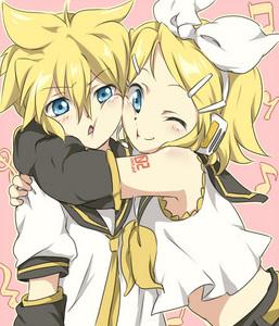 i am with my sis rin kagamine
