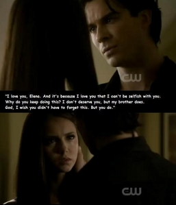 Damon and Elena from Vampire Diaries. My OTP for life! No couple comes close to how much I amor them.<3