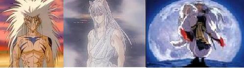 Demon Yusuke & Yoko Kurama(Yu Yu hakusho) and Sesshomaru(Inu Yasha) In Girl form *gives Yusuke a shert lol*