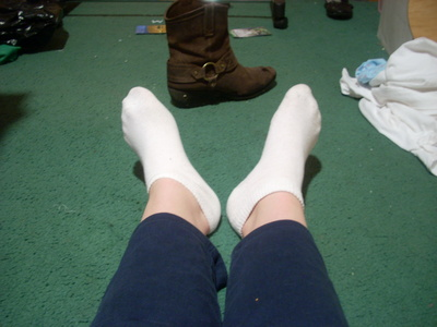 Right now I've got socks on (in the backround is one of the boots I wore today)