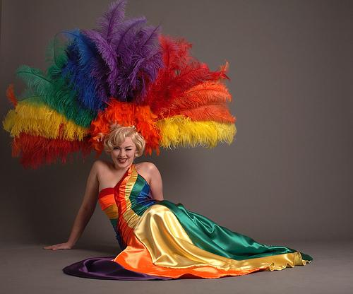 Gay pride dress. Very colorful :)