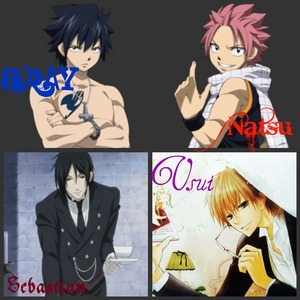 Usui from Kaichou Wa Maid-Sama Natsu from Fairy Tail Gray also from Fairy Tail Sebastian from kuroshitsuji I LUV ALL OF THEM!!! :)