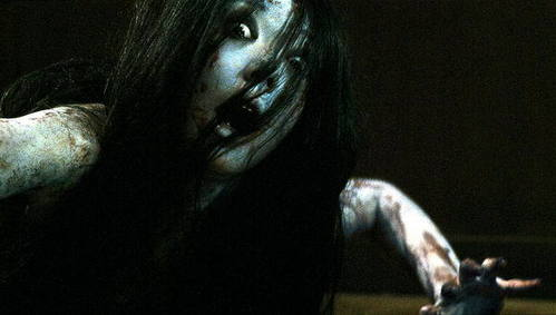 THE GRUDGE!!!!! AHHHH SOOO SCARY!!!!!!! there are 3 movies!! might be on Youtube :)