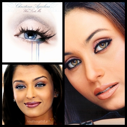 I think Christina Aguilera,Aishwarya Rai and Rani Mukherjee have AWESOME eyes. sooo beautiful and dreamy  ♥ ♥ ♥ ♥