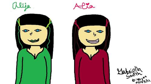 Earlier, my friends, Alija and Alia were over, they asked me if I could draw a picture of them both and since their twins, I drew one, copied and pasted it and flipped it horizontal then changed somethings. *bows*