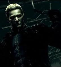 albert wesker from Resident Evil. i was soooo sad when he ''died''. i think he didnt tho,hes still alive. WESKER LIVES ON!!!!!!! wesker is so fuckin awesome on Marvel vs Capcom 3