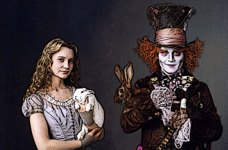 This is something that I have been thinking about. I think that when she went back to his world, after saying goodbay to the hatter, she should hav found him in the real world, but no a the hatter. He should have found him as a normal person. I think that would gonna work great! I don`t know what do toi think...