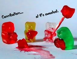 GUMMY BEARS!!!! this is why: a, b, c, d, e, f, g, gummey bears r chasing me. one is red and one is blue. one's trying to take my shoe. now im runnig for my life, cause the red one had a KNIFE!!! so i fed him to my cannibal... TAKE THAT U EVIL GUMMEY BEAR!!!! (i cant take the credit for that. someone else gepostet that and i used it... :D )