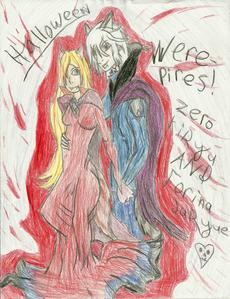 um....no.... i can't.... dat sounds boring.... Zufällig PICTURE I DREW!!!!!! it's my VK RP charictor Forina Jaryue and Zero Kiryu! in there Halloween costumes! they r werepires! erm....more like Vampire Nekos...*shrugs*