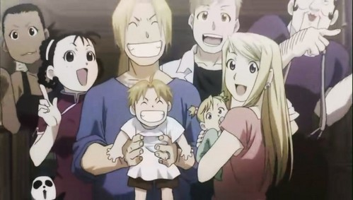 Edward and Winry are married but they didn't mention their children name. We only knew that they are married because of the family photo.