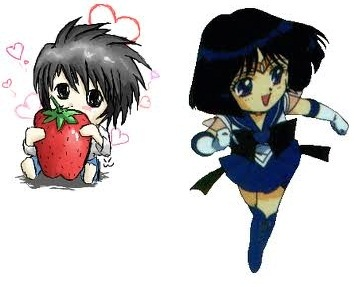 I couldn't pick one so i picked both!! Meet Chibi Sailor Saturn and L don't you luv L hes soooo adorable in this picture