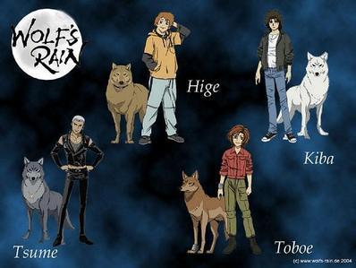 Mine are: 1.Kiba(Wolf's Rain) 2.Hige(Wolf's Rain) 3.Toboe(Wolf's Rain) 4.Tsume(Wolf's Rain) 5.Tuxedo Mask(Sailor Moon)