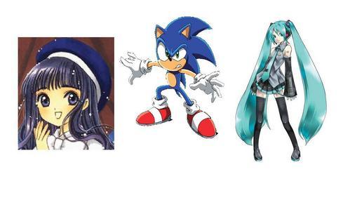 miku hatsune, sonic the hedgehog and tomoyo daidoji