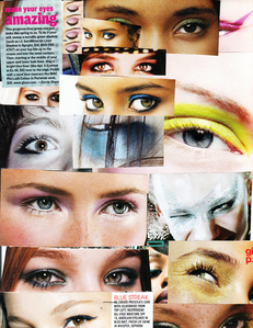 Eyes... Not real ones... i cut them out from magazines and stick them on my pader :)