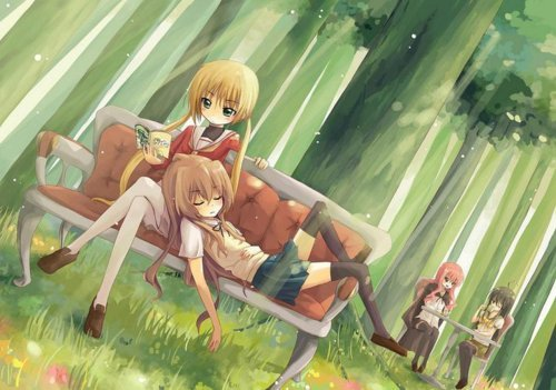 I can't really decide who is best, but this is the order that I saw their respective animes: Louise, Nagi, Taiga, and Shana! Whoever made this pic did a great job! (Btw it is not mine) For those who might not know, and/or just beause I want to Liste them, there is Taiga laying on Nagi's lap, whom is Lesen a manga, I think, and Louise and Shana having tee together at the tabelle in the background. Too bad Nymph wasn't added to the picture, she'd make a great forest fairy. ^-^