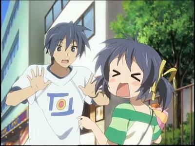 Waaaaayyy toooo many. How about.... Girl: Mei Sunohara Boy: Tomoya Okazaki Looks like they both have blue hair