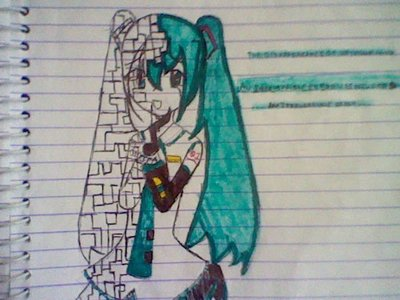 meh...drew this in school The Disappearance of Hatsune Miku Fanart (thats why she's pixelated on the other side)