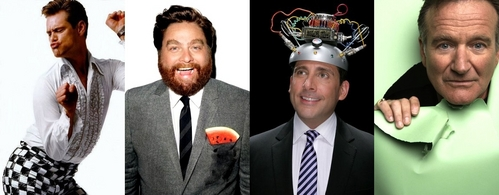 I can only name four actors. Others are good too, but these are my favourites. + they're not in order. Jim Carrey Zach Galifianakis Steve Carell Robin Williams