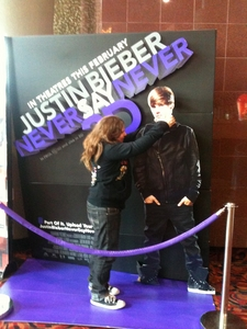 My sister strangling Justin Bieber or as she calls him Little Miss Gay.