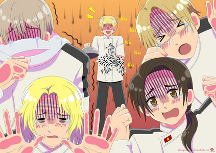 Now that hetalia - axis powers is my fav. anime, it's been in my desktop for quite some time. But right now I'm using a wallpaper that is my opinion one of the best crossovers I ever come across..... hetalia - axis powers + Gordon Ramsay = EPIC WIN!