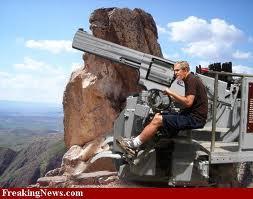 Take gun from the man than shoot......... Justin Bieber