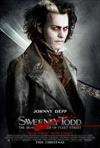 a bloody barber pisau on a sweeney todd poster