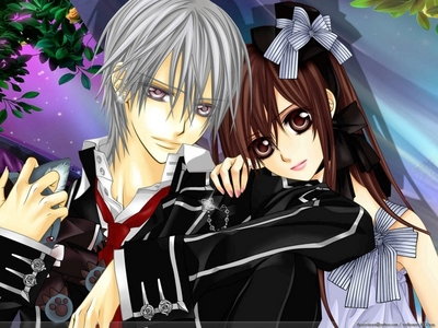 Vampire Knight is a really good series that has romance. There is also Karin (Chibi Vampire).