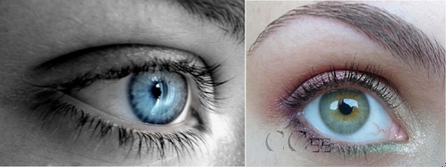 Well..... my left eye is aqua blue and my right is half blue green and half hazel..... This is sort of what my eyes look like, obviously these aren't actually my eyes considering the pictures are both of left eyes, but this is just their colors. The blue is the same color as my left eye and the greenish color is the color of my right eye.
